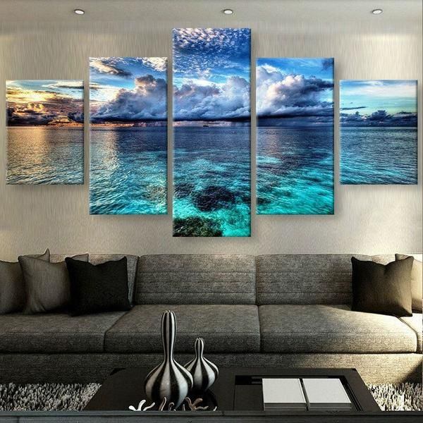 Calm Clear Water Sky canvas panel wall art print 5 panel Framed UNframed 40  is part of Large Living Room With Bar - Calm Clear Water Sky canvas wall art print 5 panel Framed UNframed We have 2 options for thisprintWith Framed, OrNo Framed  Please choose one option when you buy  With Framedmeans theprinthas been stretched on wood frame, ready to hang! No Framedmeans canvas ONLY  The canvas will be rolled up and shipped in a