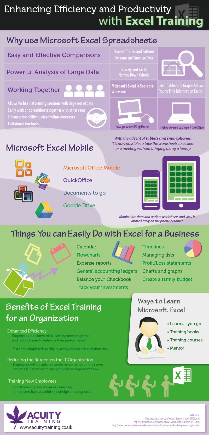 Enhancing Efficiency and Productivity with Excel Training - http://www.acuitytraining.co.uk/news/excel-training-infographic/