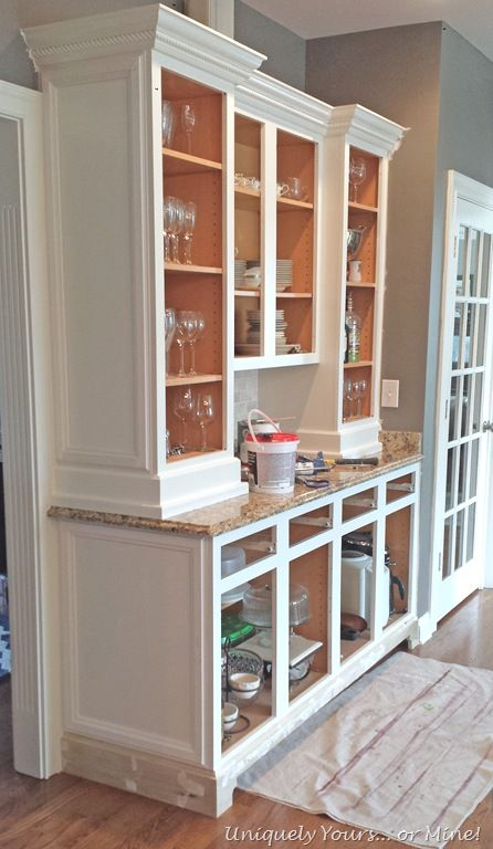 Adding feet and molding to cabinets | Kitchen cabinets trim, Kitchen cabinet molding, Cabinet ...
