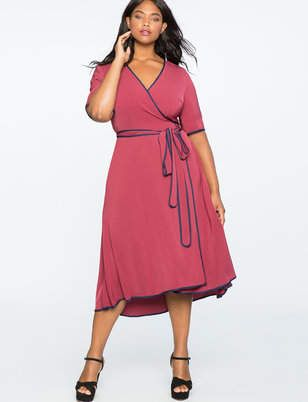 306a347fa751 ELOQUII True Wrap Dress with Piping Detail Šaty Na Bežný Deň