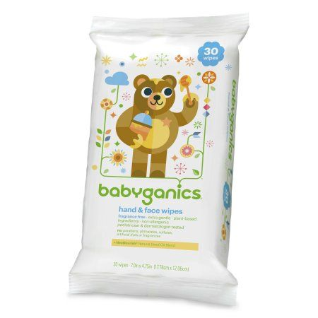 Babyganics Face Hand Baby Wipes Unscented 30 Count White