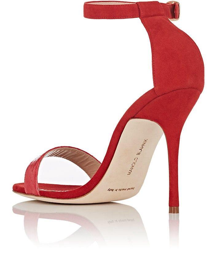 7a97fcd44 Manolo Blahnik Chaosbic Suede   Snakeskin Sandals - 10.5 Red