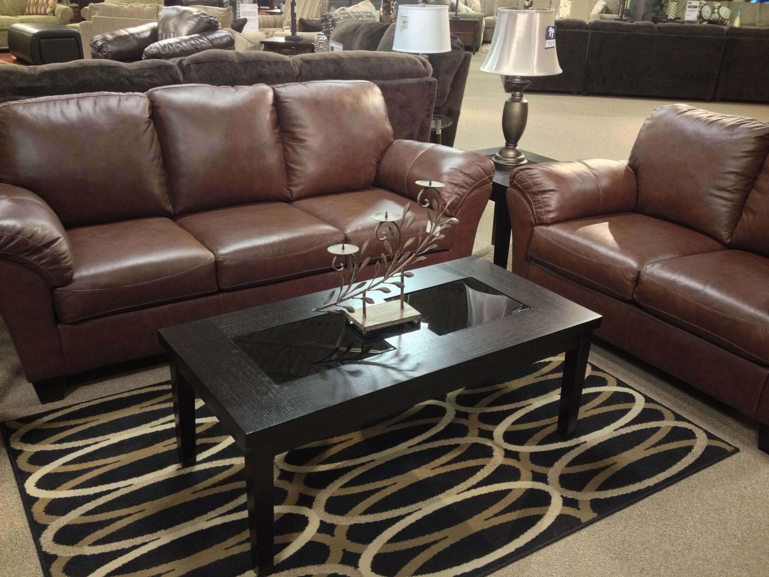 Rivergate Brown Sofa Loveseat Coffee Table and 2 End Tables at