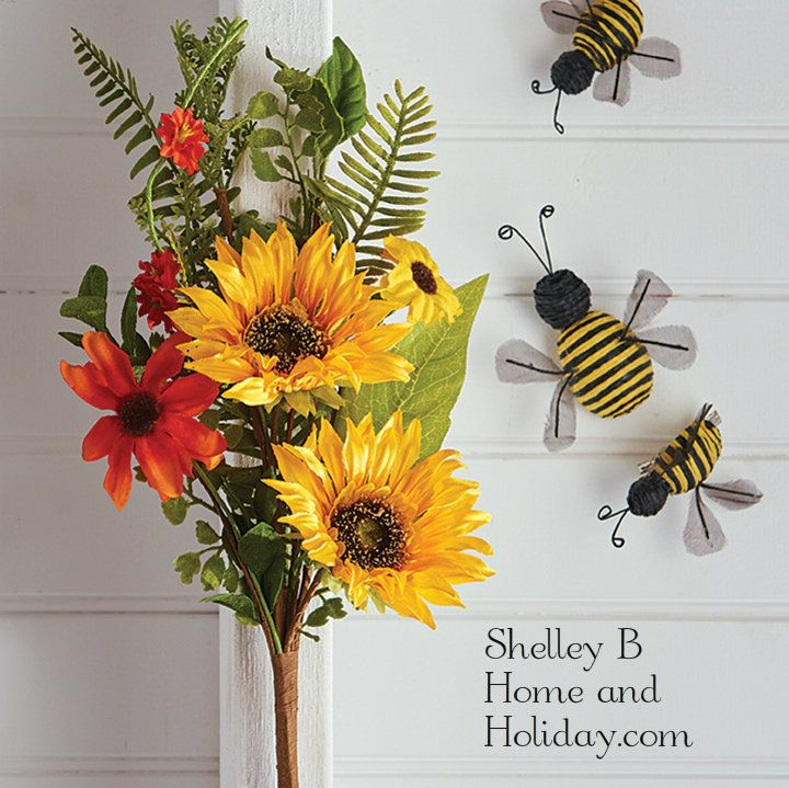 Sunflower Bouquet floral stem for decorating from the Shelley B Home and Holiday Shop Home Decor: Floral Decor category. Shop online for home and holiday decorations.