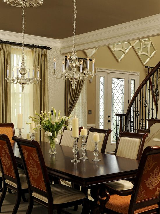 Two chandlers over dinning room table and large and for Formal dining centerpiece