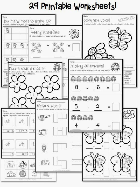 Spring Math and Literacy Centers plus a FREEBIE