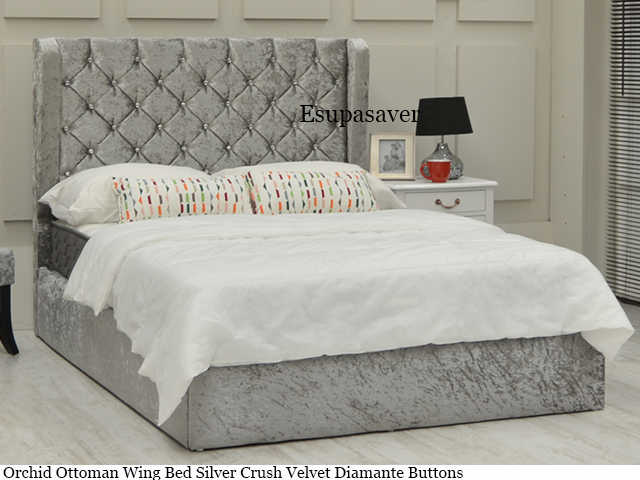 Orchid Gas Lift Ottoman Wing Storage Bed Frame Available In Crush