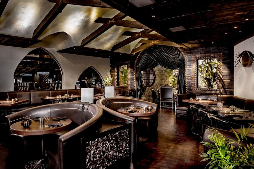 Check out our Heat Treated Douglas Fir Basketweave Endgrain at Spanish interior decor restaurant, Javier's in Las Vegas.