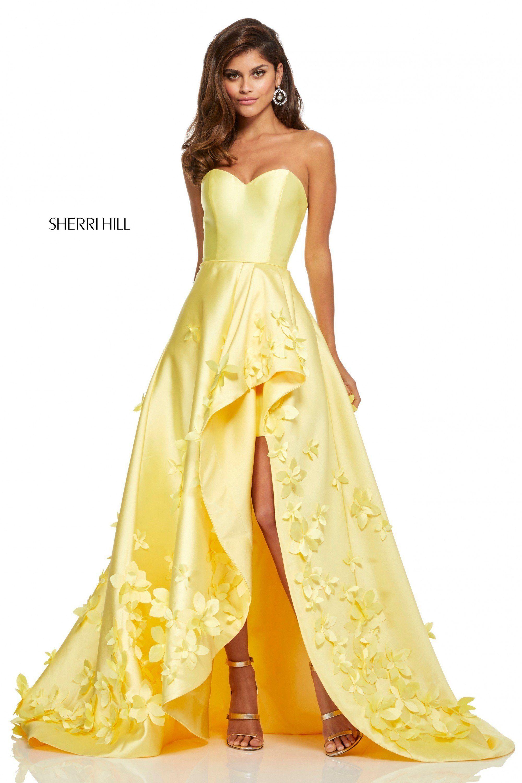 d26381aeb0b Sherri Hill 52581 3D Floral Strapless Dress in 2019