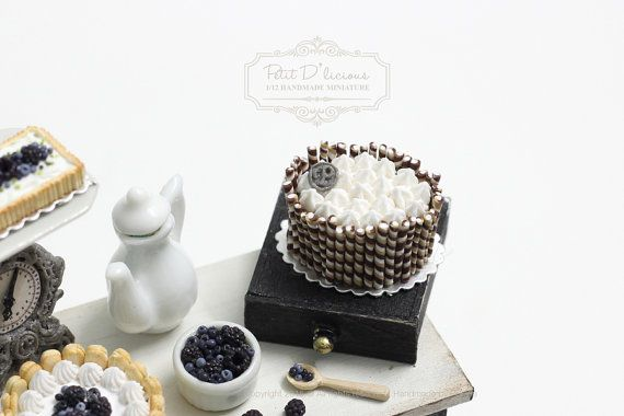 2 Casa de Muñecas en Miniatura de Chocolate tortas de crema