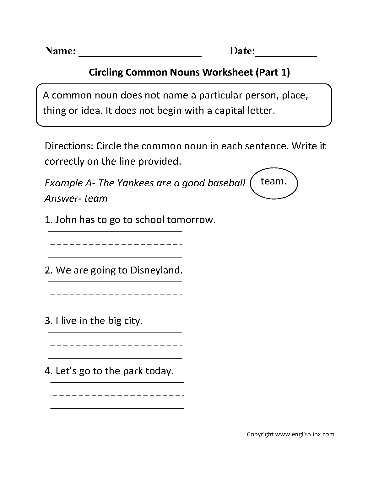 Circling Common Nouns Worksheet Part 1