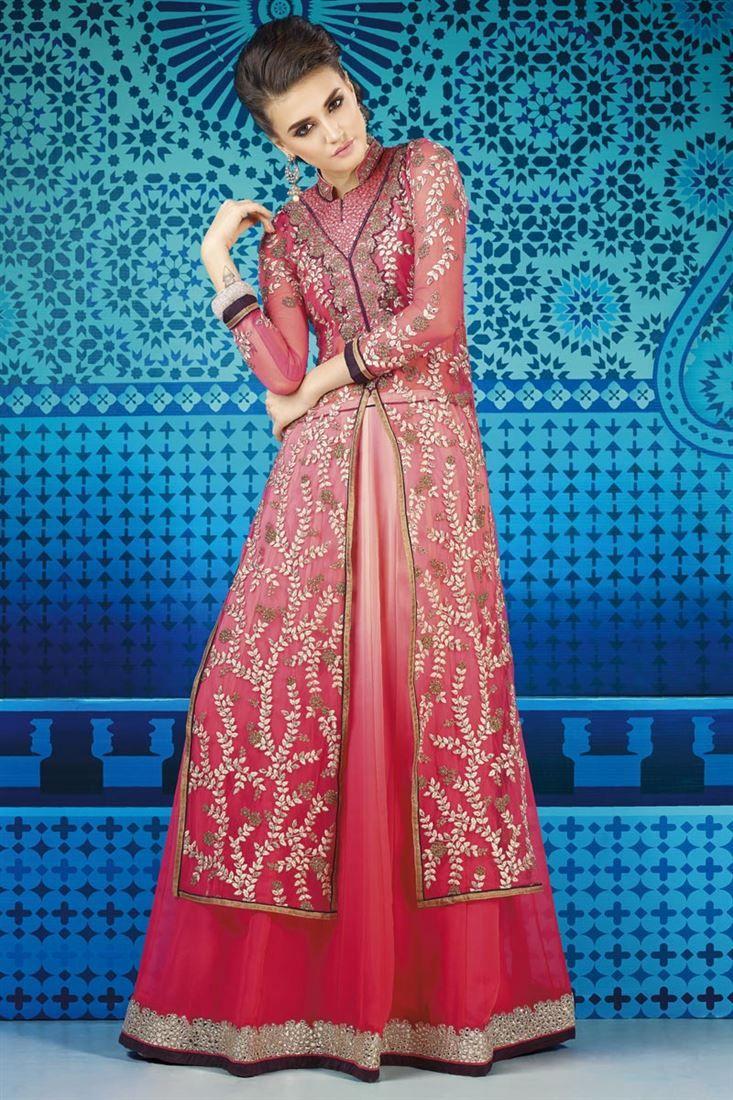 Pink #Sharara Top #LehengaCholi with Embroidery - $100   Wedding ...