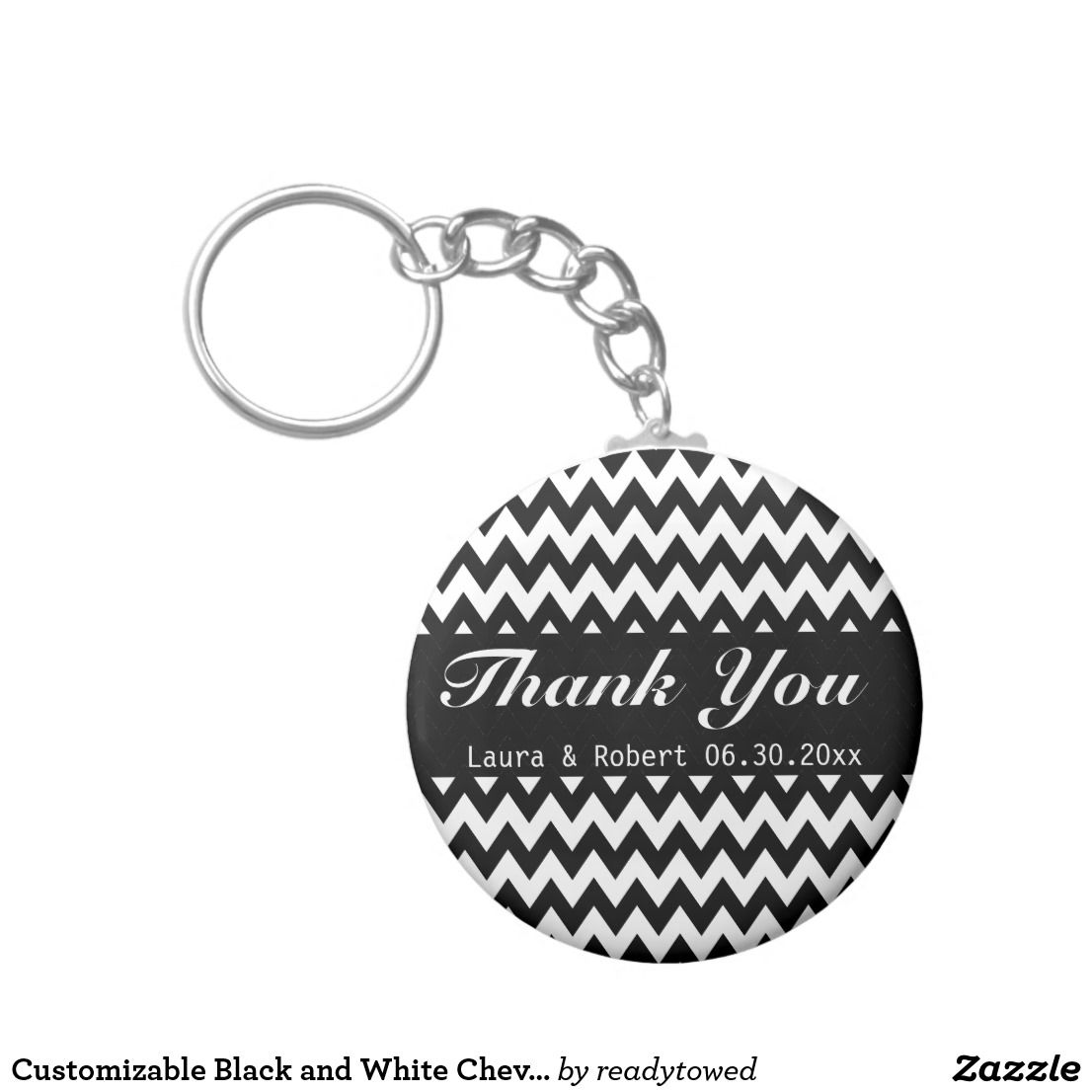 Customizable Black and White Chevron Wedding Favor Keychain | Black ...