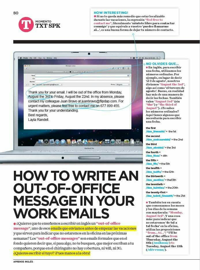 How To Write Out Ot Office In Your Email Idiomas English Business