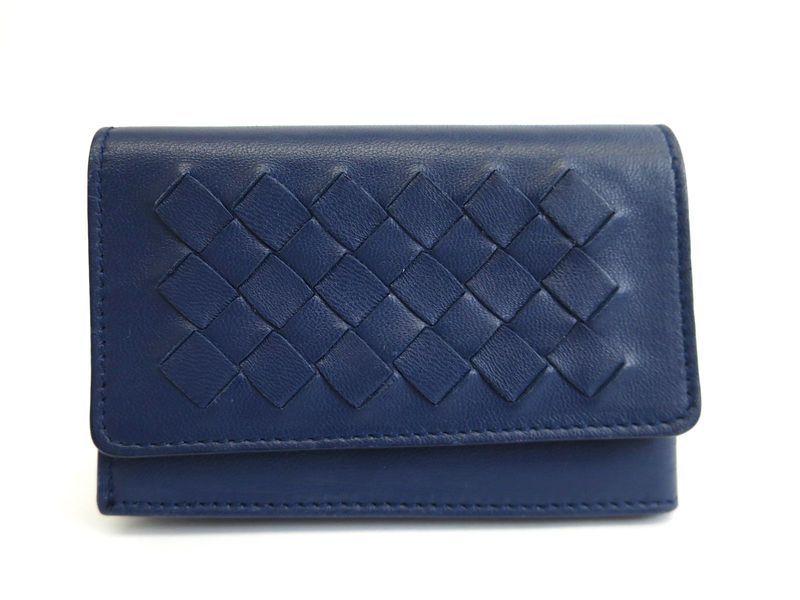 Bottega card case intrecciato leather navy bf103244