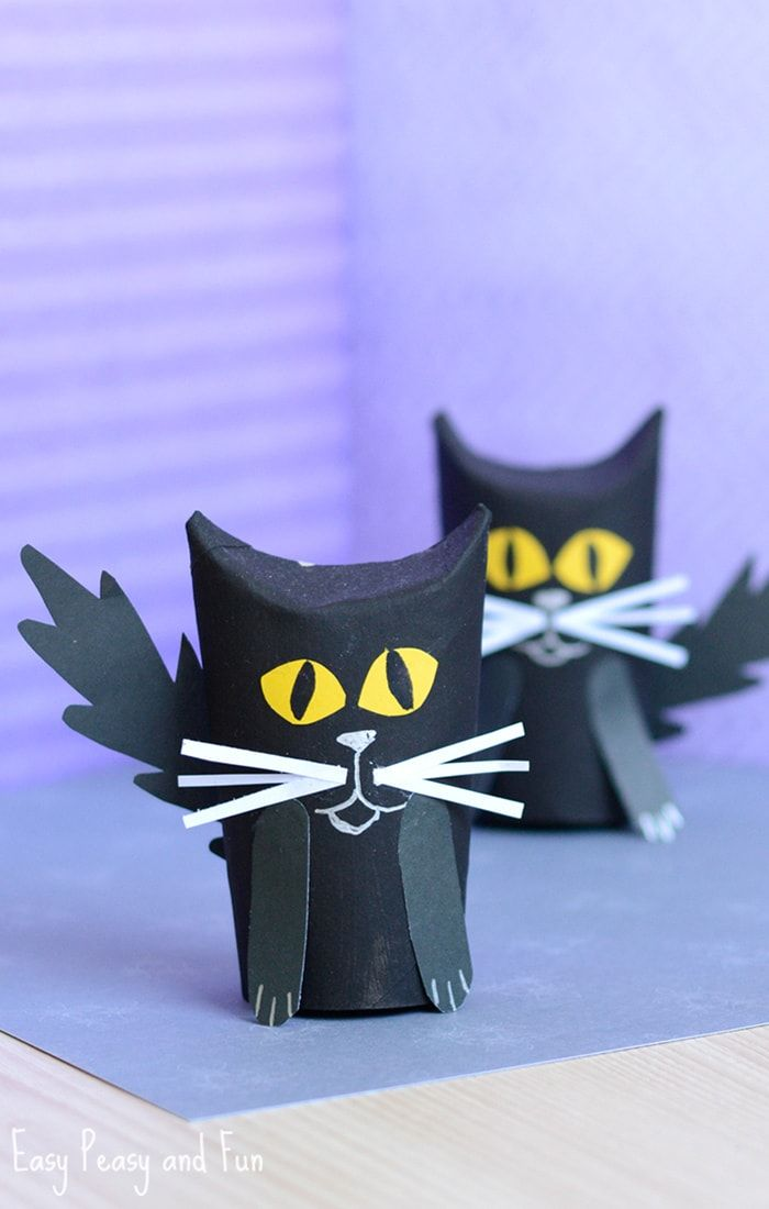 paper roll black cat craft bricolages halloween. Black Bedroom Furniture Sets. Home Design Ideas