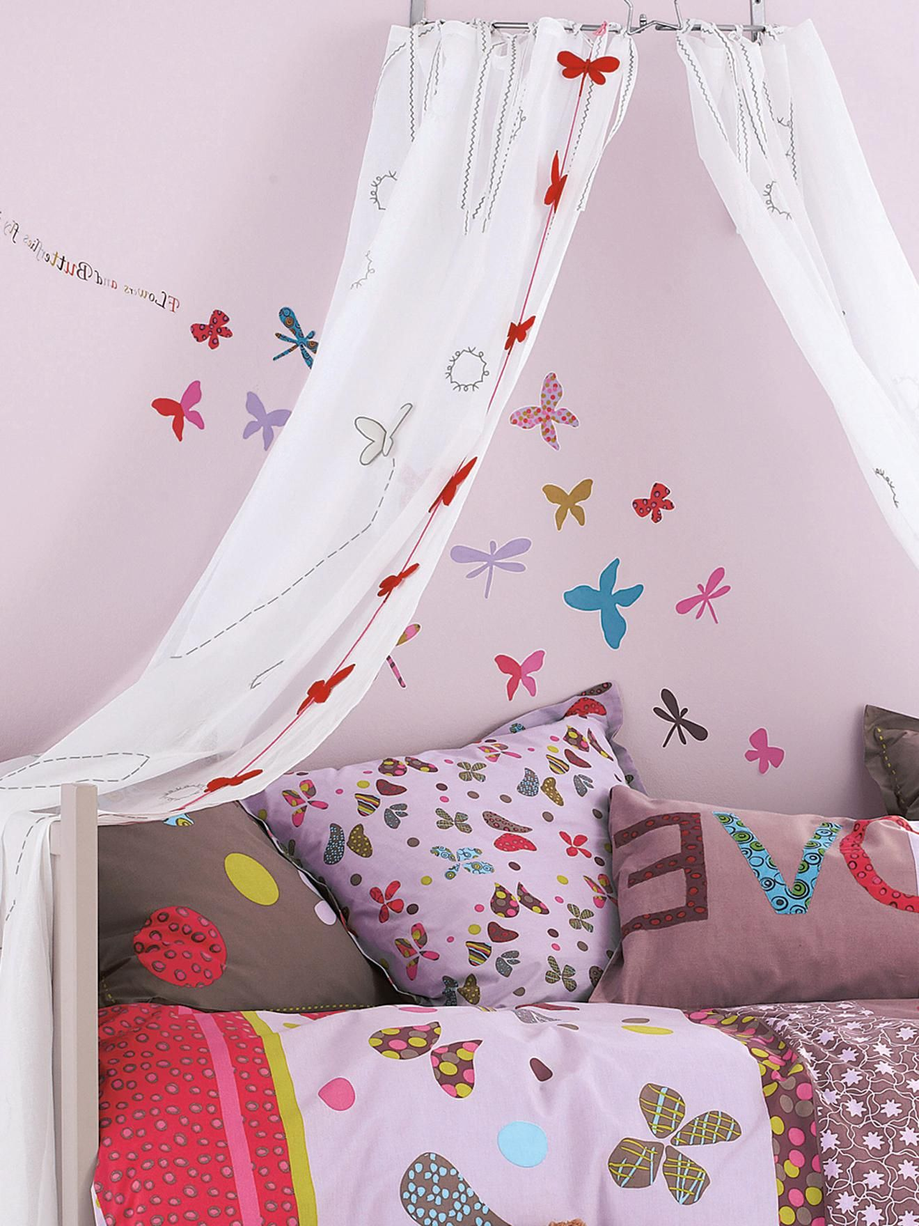 adorable wall decal decoration ideas set on violet painting wall