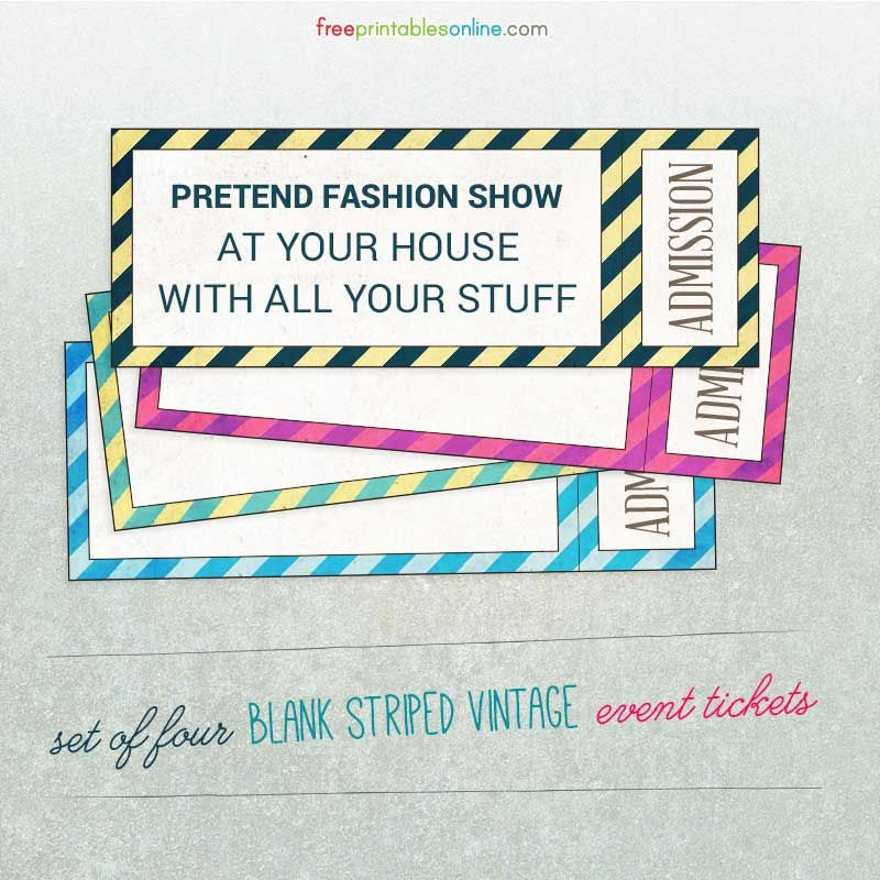 Striped Vintage Blank Event Tickets  Ticket Template Event