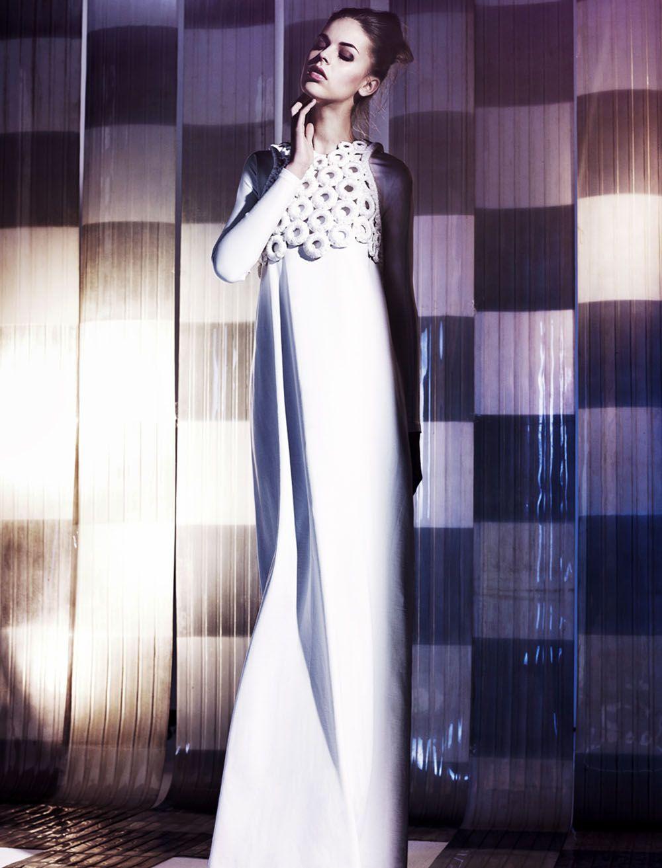 Checkmate Long white dress, Fashion, Long sleeve dress