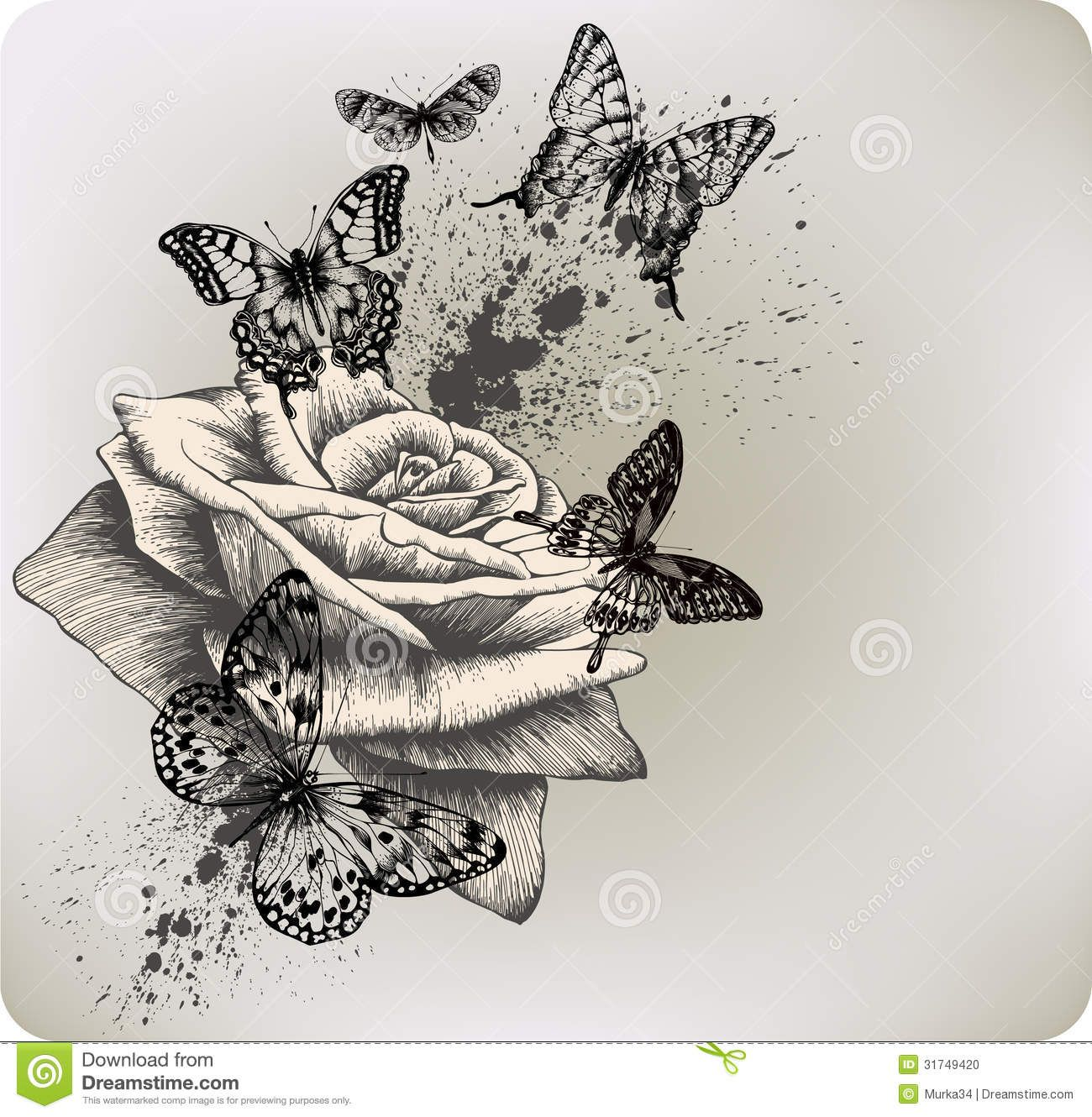 Background With Rose And Butterflies Flying. Vecto ...