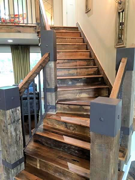 Reclaimed Wood Staircase And Metal Fabricated Newel Post Caps Wood Handrail Wood Staircase Metal Post Caps