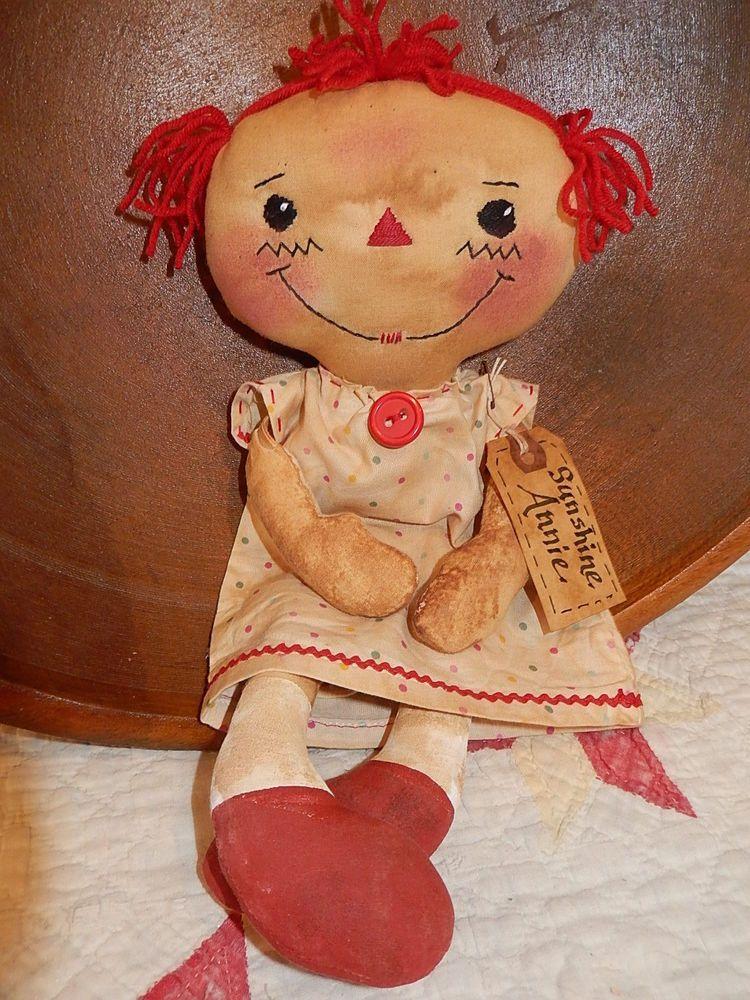 Primitive Handmade Grungy Folk Art Sunshine Annie Raggedy Ann Doll Red OOAK #NaivePrimitive #Debbie