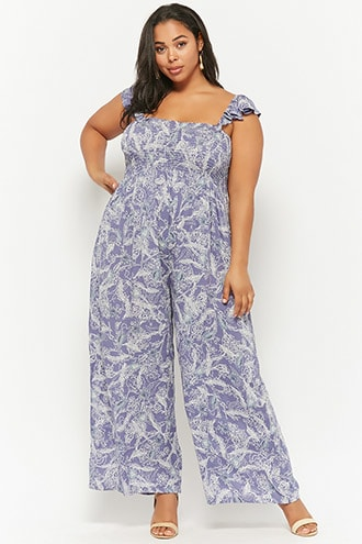 67cded7d98cd8 Plus Size Boho Me Feather Print Jumpsuit