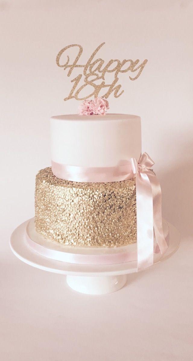 Pink Gold Sequin 18th Ladies Birthday Cake Patacake