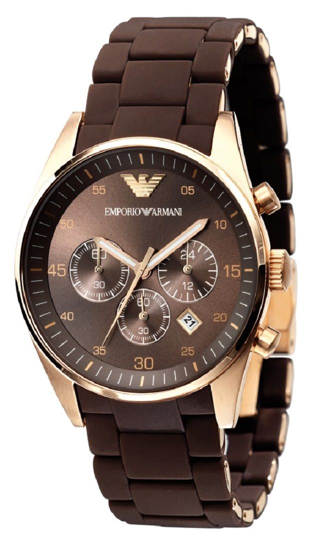 72bc19c6cf8 Emporio Armani Sportivo Rose-Gold Brown Rubber Strap Watch