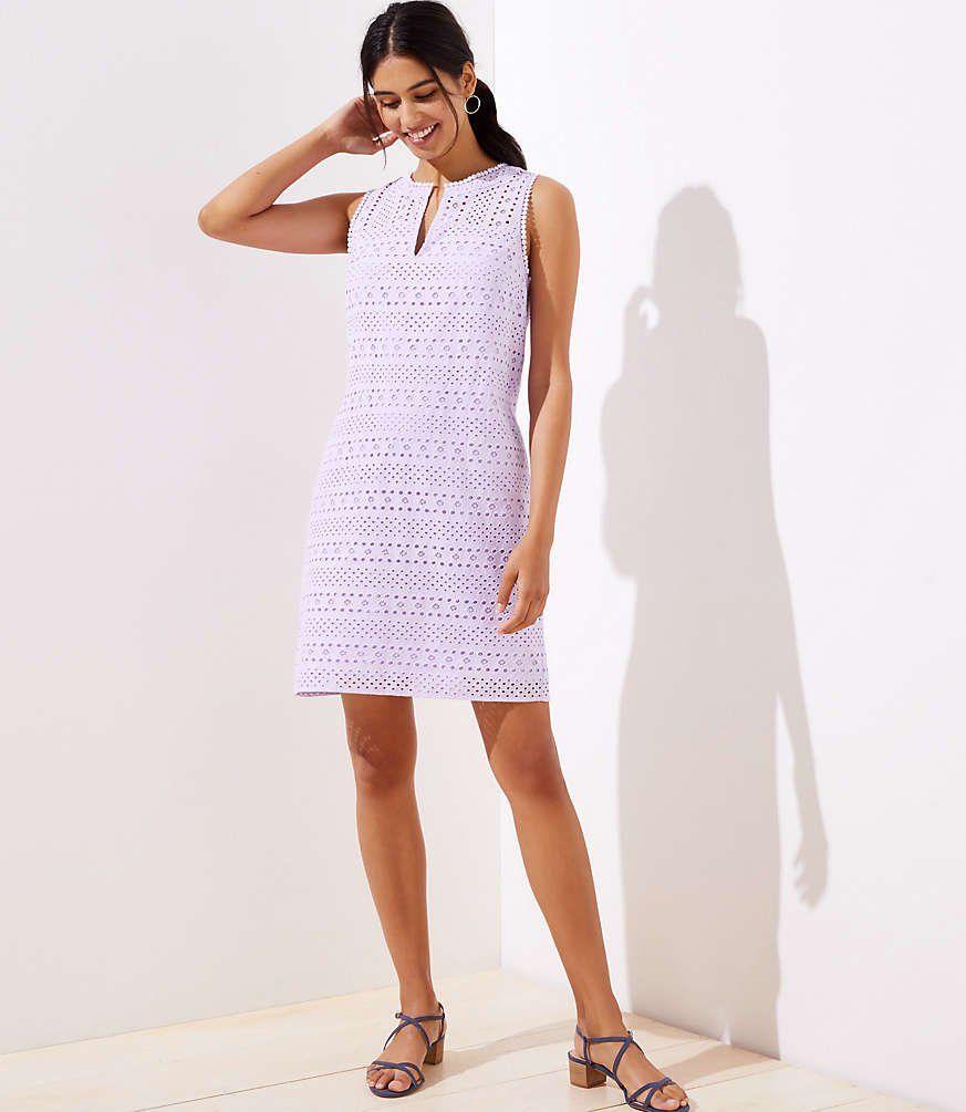 This Perfectly Sleek Cotton Shift Dress Lines Up In Fresh Eyelet Stripes Split Neck Sleeveless Back Zip Dresses Weekend Dresses Cotton Shift Dress [ 1005 x 873 Pixel ]