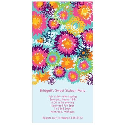 Sweet 16 Party Invitations Flower Power – Flower Party Invitations