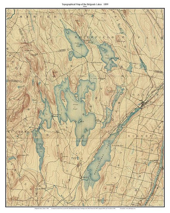 Topo Map Of Maine.Belgrade Lakes 1899 Old Topographic Map Usgs Custom Composite