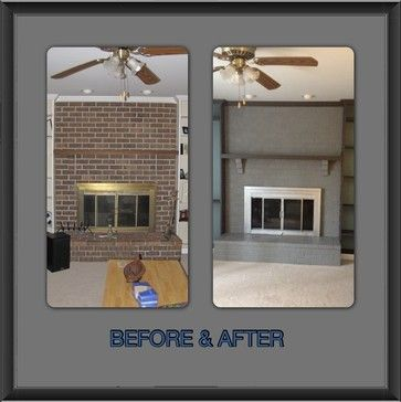 """Our """"New"""" Painted Brick Fireplace and Screen - Houzz ..."""