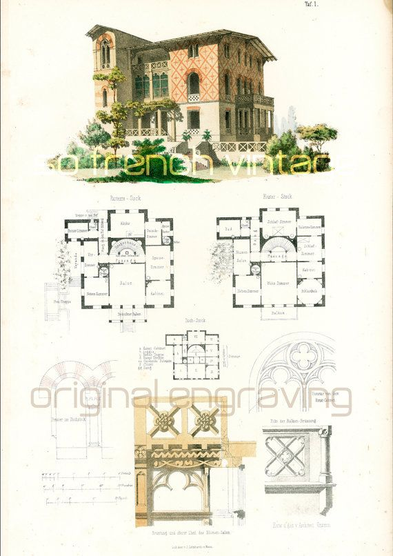 1854 Italian Country House Plans Architectural By Sofrenchvintage