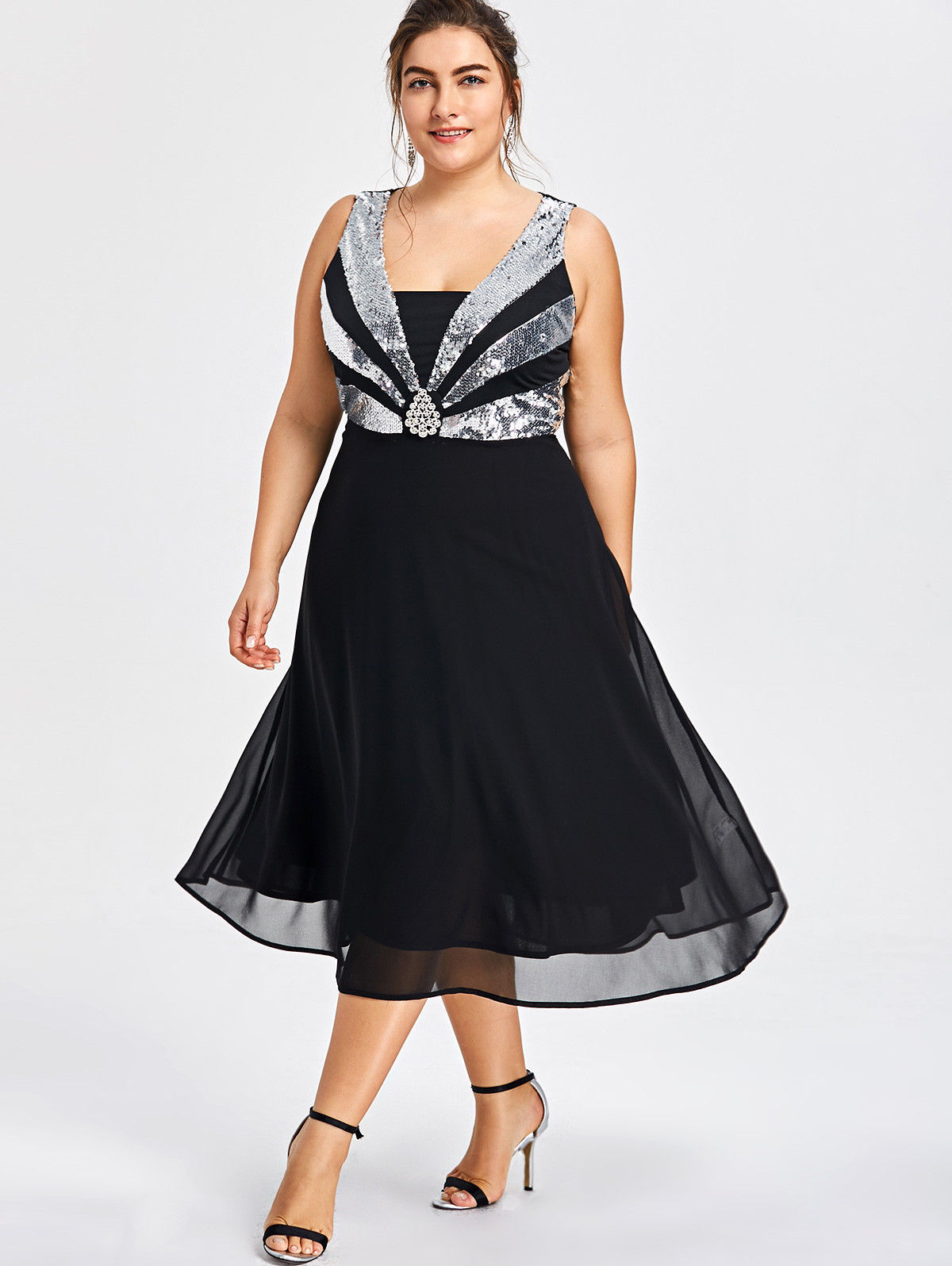 5e01af3608b £3.99 GBP - Women Plus Size Flare Glittery Sequined Evening Cocktail Party  Chiffon Dress  ebay  Fashion