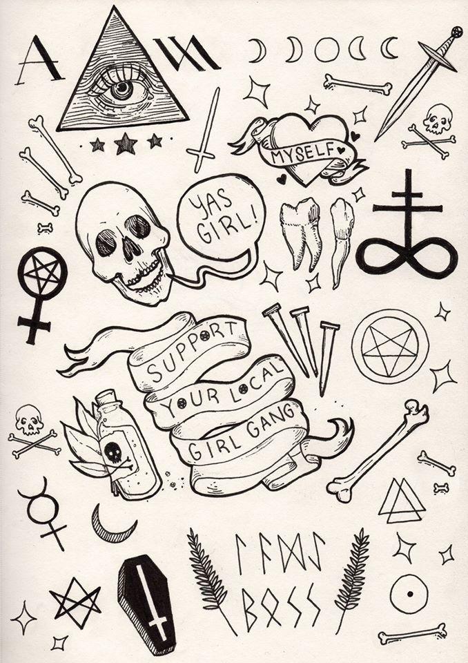 Tattoo Flash Art Black And White Guitar: Dibujos Simples Tumblr, Dibujos Sencillos, Bocetos