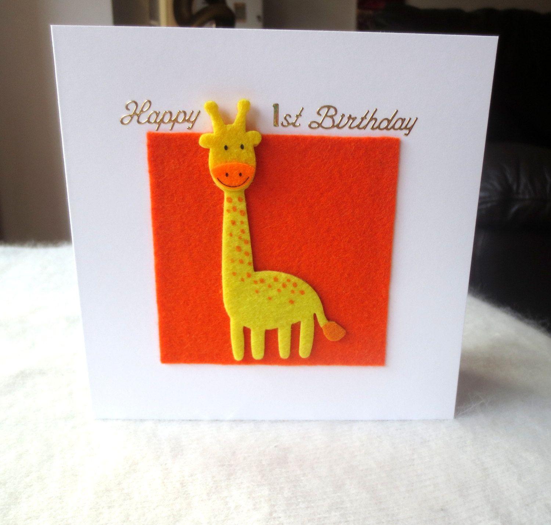 Unique Giraffe Birthday Card Giraffe Birthday Card Cute Etsy Cards Handmade Giraffe Birthday First Birthday Cards