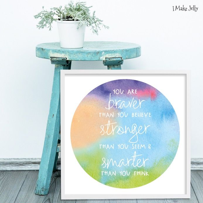 Braver & Stronger Watercolour • Custom Design • by I Make Jelly