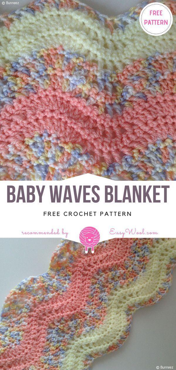 Baby Waves Blanket Free Crochet Pattern on easywool.com   Crochet ...