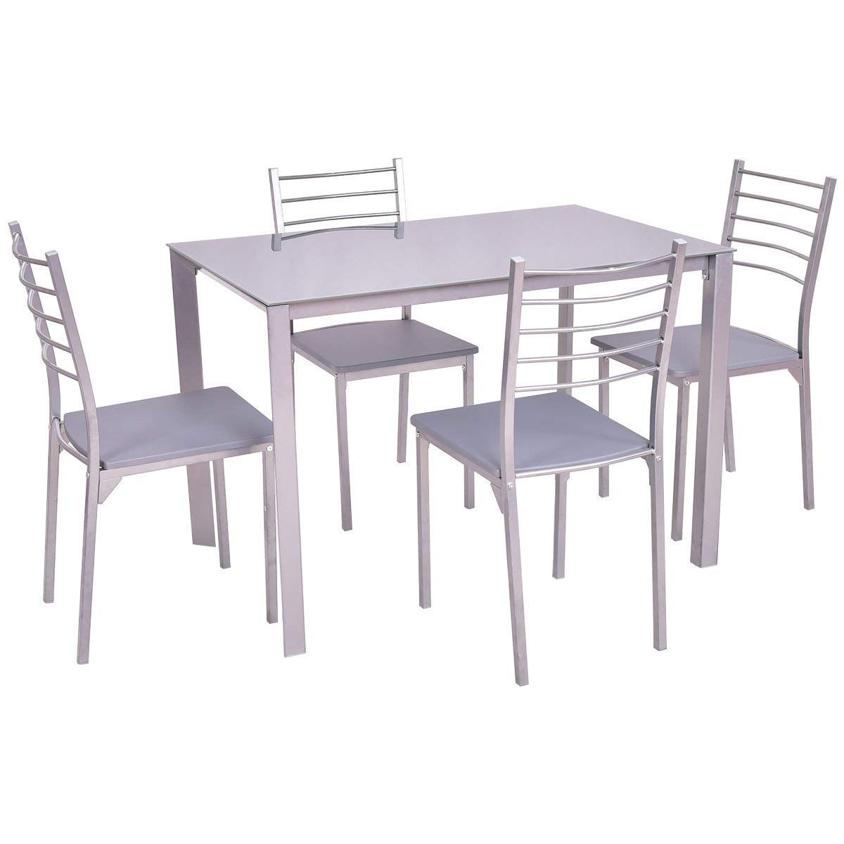 Tangkula 5 Piece Glass Top Dining Set Kitchen Modern Furniture Tabel And Chairs Set You Can Find Out Modern Kitchen Cheap Dining Sets Dining Furniture Sets
