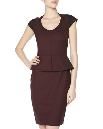 Pinstriped Cap-Sleeve Peplum Dress, Black/Chambord by Rachel Roy at Neiman Marcus Last Call.