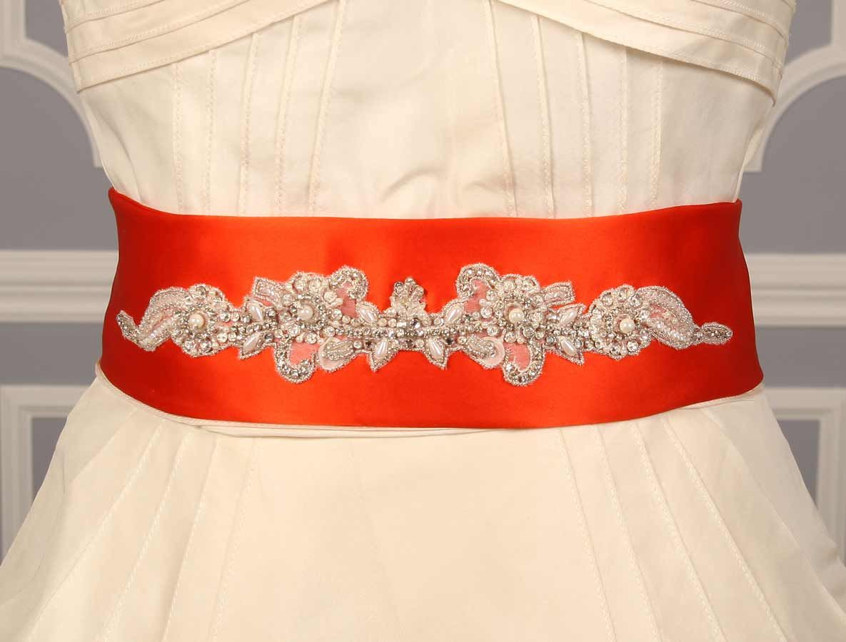Autumn Orange Embellished Bridal Sash