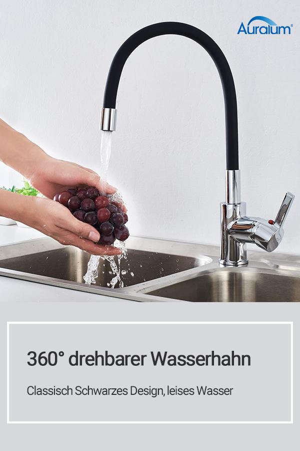 Auralum Wasserhahn, Classisch Schwarzes Design, Leises Wasser#wasserhahn  Für Küche