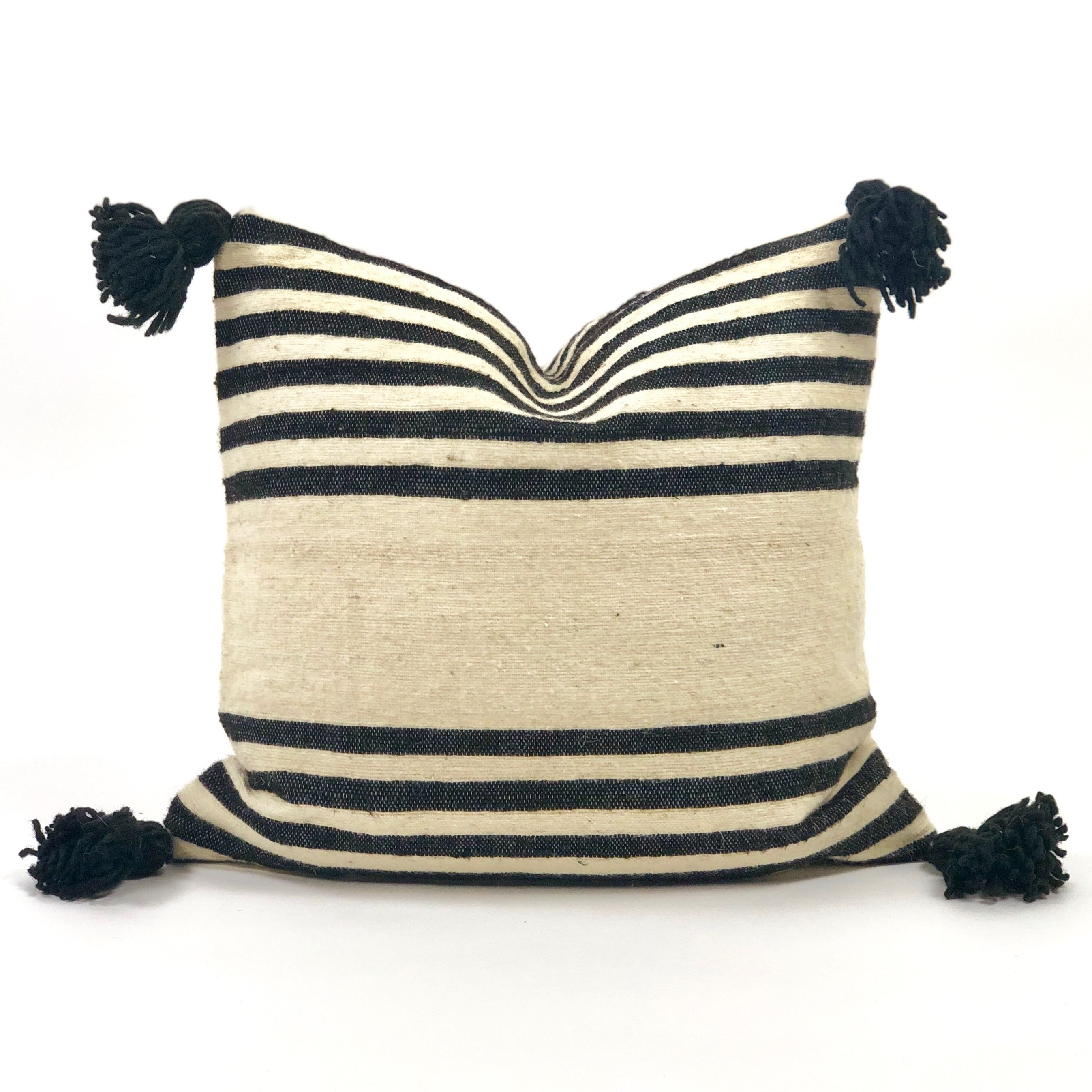 This Textural Pillow Is Hand Crafted By Weavers In Morocco Using Natural Dyes Distinctive Bold Black Stripes Throw Pillows Pillows Throw Pillows Living Room