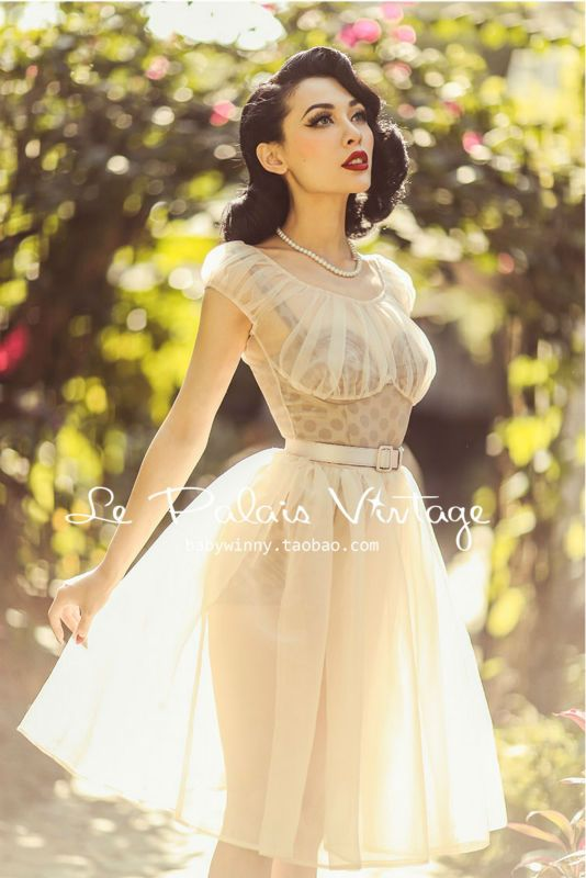 8df64cc6e FREE SHIPPING Le Palais Vintage limited edition retro elegant perspective  nude fairy dress bra set-in Dresses from Women s Clothing   Accessories on  ...