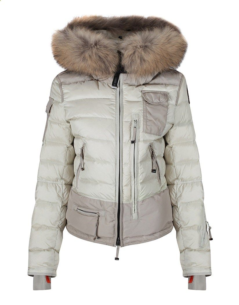 Parajumpers Womens Skimaster Hooded Down Jacket with Removable Fur Trim - Chalk - Womens New Arrivals