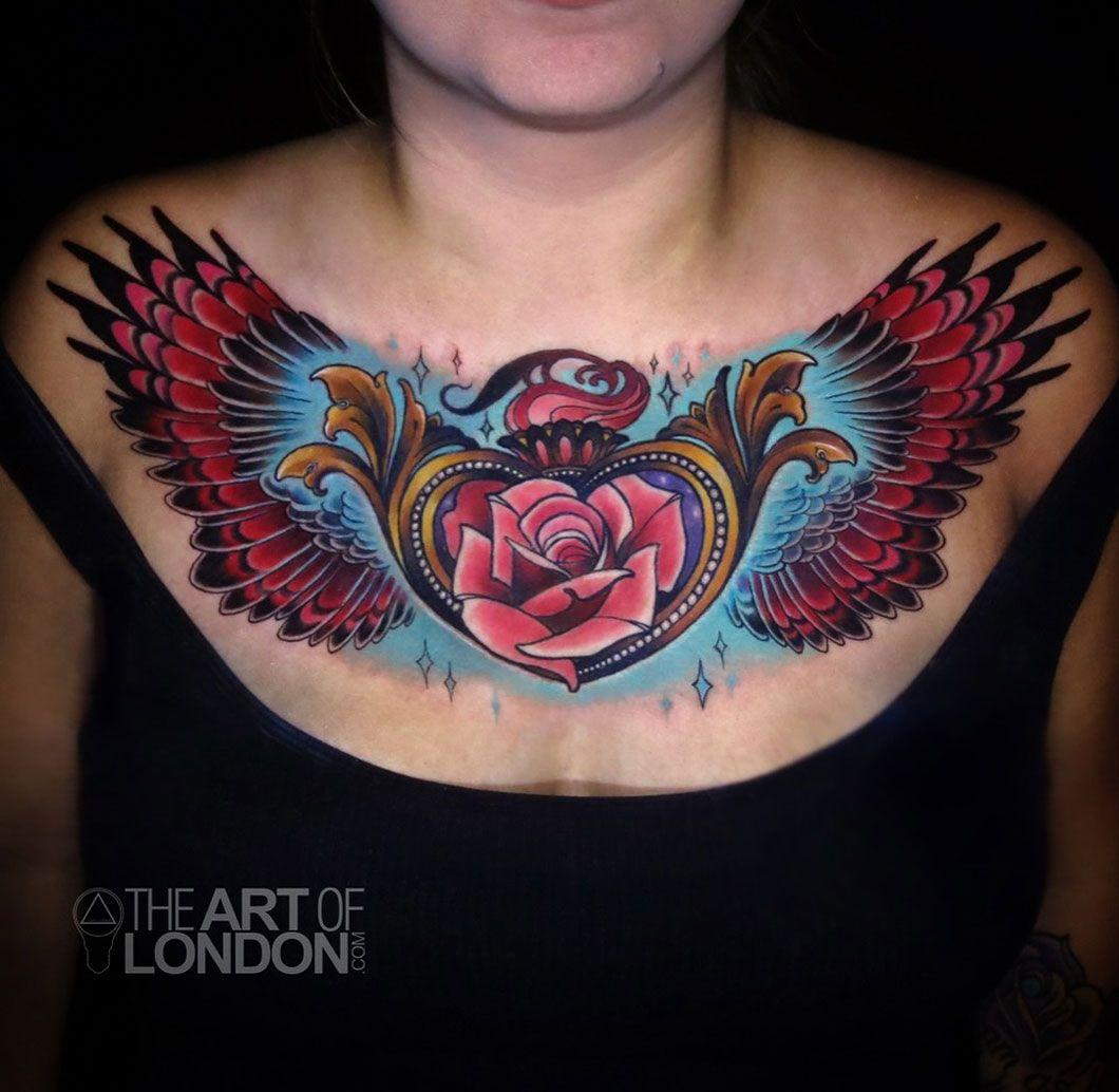 Heart Locket Chest Tattoo Tattoos for women, Tattoos