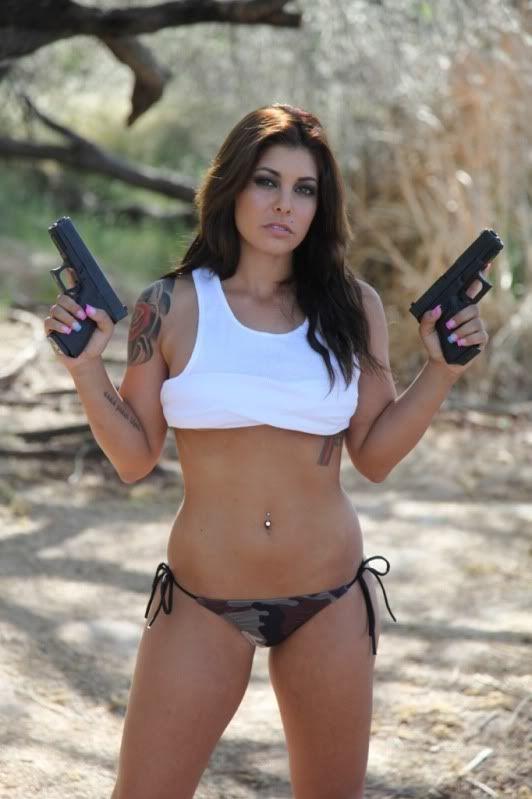 Bikini girl with gun tattoos Amazingly!