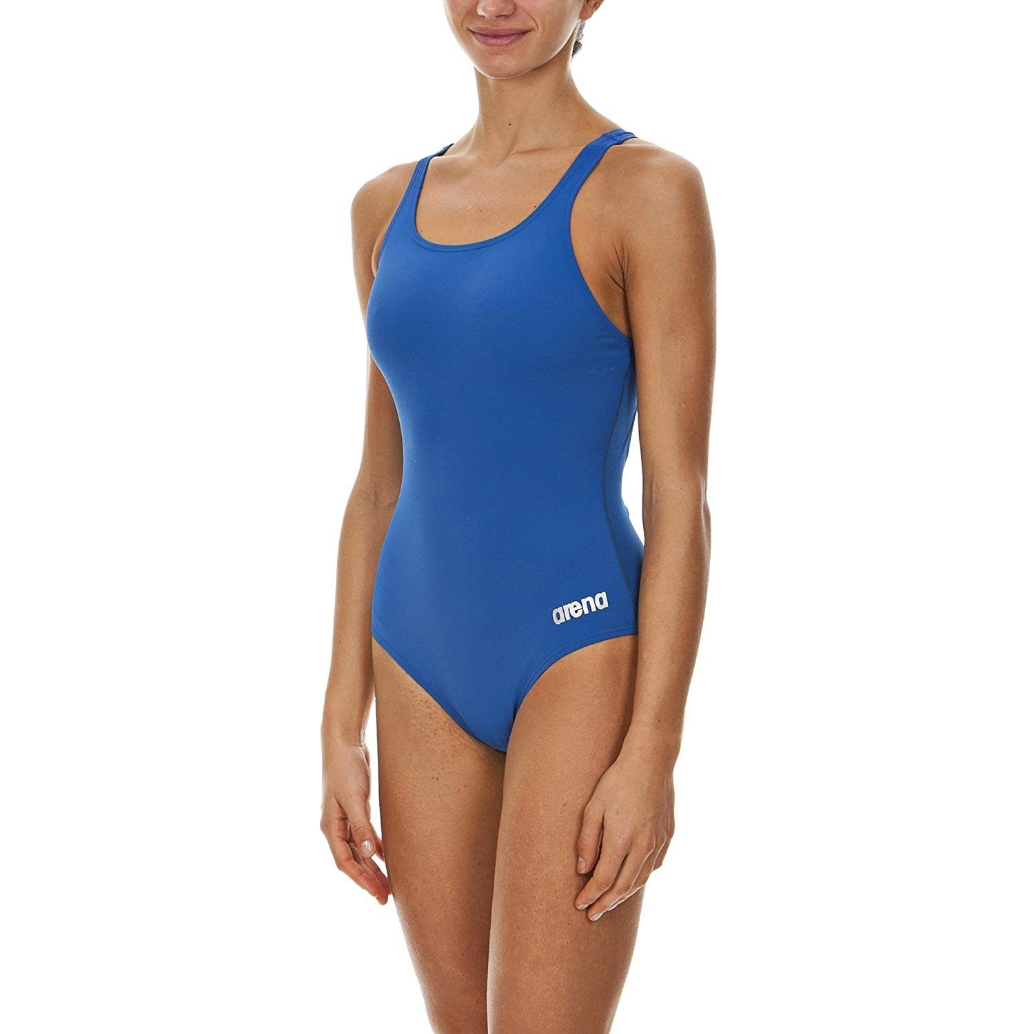 Women's Madison Athletic Thick Strap Racer Back One Piece Swimsuit - Royal/Metallic Silver - Size 36...