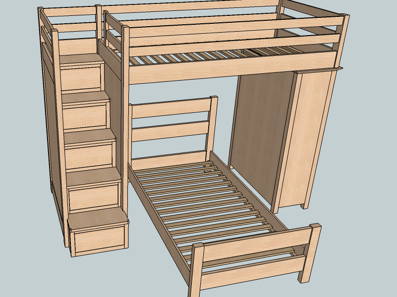bunk bed sitelumberjockscom google search - Free Loft Bed With Desk Plans